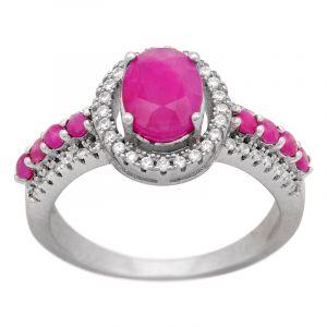 Stříbrný prsten rubíny a zirkony Ag 4,6 g