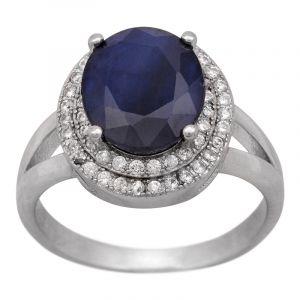 Stříbrný prsten safír a zirkony Ag 4,8 g