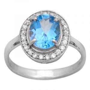 Stříbrný prsten Swiss Blue topaz a zirkony Ag 3,8 g