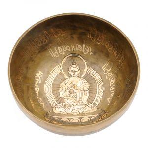 Tibetská mísa 18,5 cm - 1007 g zdobená Buddha