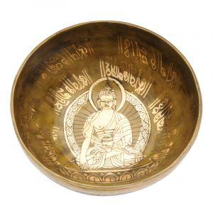 Tibetská mísa 20 cm - 1064 g zdobená Buddha