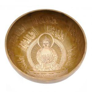 Tibetská mísa 22 cm - 1438 g zdobená Buddha