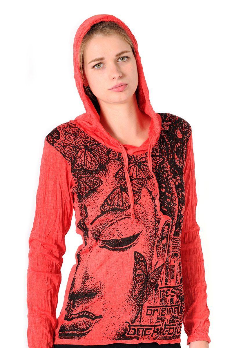 Dámská mikina Sure s kapucí Buddha červená