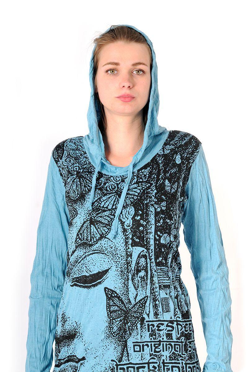 Dámská mikina Sure s kapucí Buddha tyrkysová