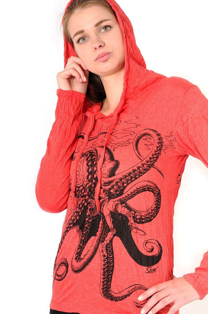 Dámská mikina Sure s kapucí Chobotnice červená