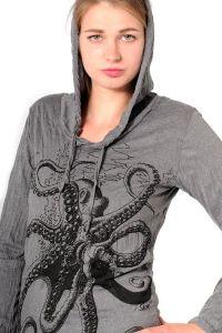 Dámská mikina Sure s kapucí Chobotnice šedá
