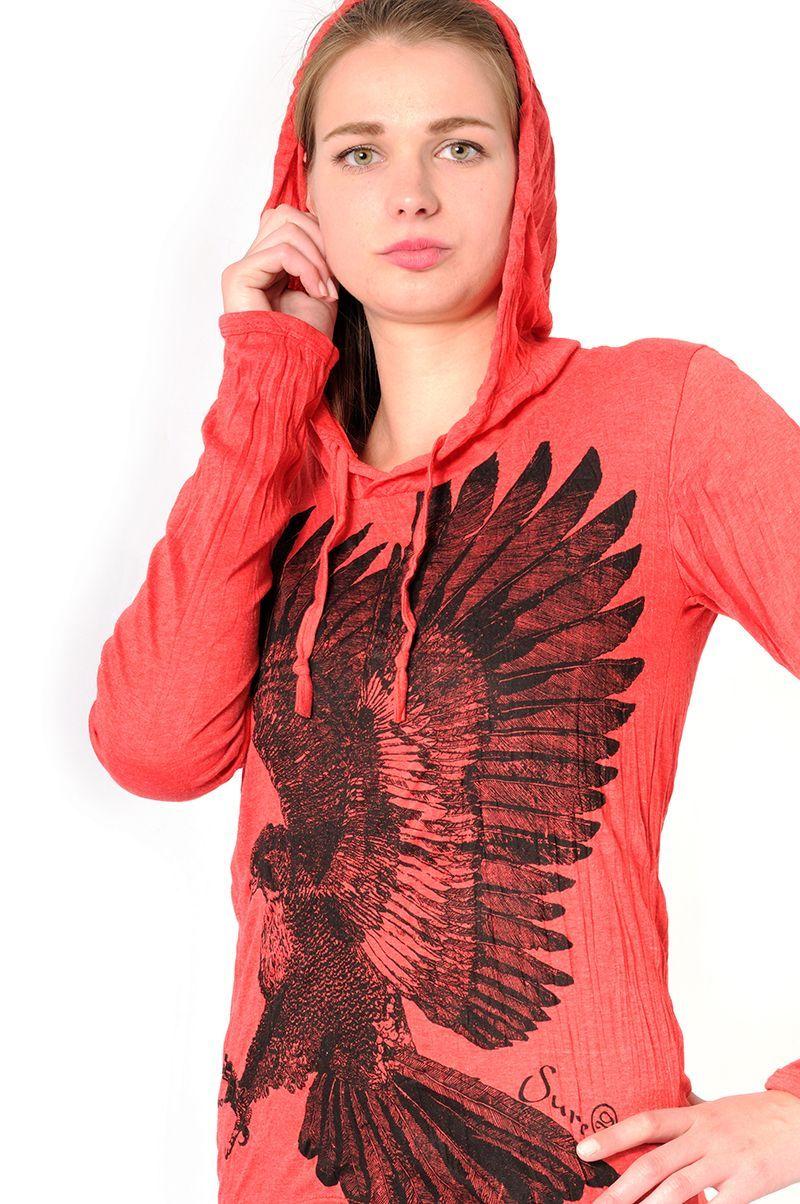 Dámská mikina Sure s kapucí Orel červená - XL | SoNo spol. s r.o.