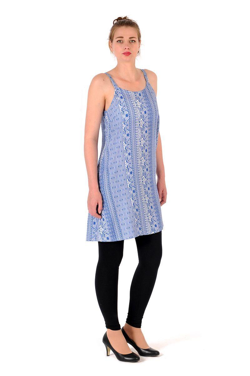 Šaty BOB Dona na ramínka Flower azurové