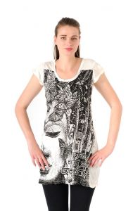 Šaty Sure mini krátký rukáv Buddha bílé