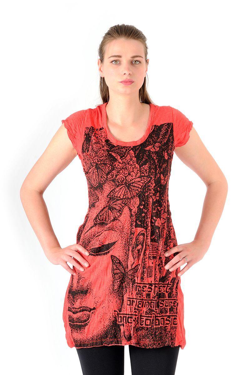 Šaty Sure mini krátký rukáv Buddha červené