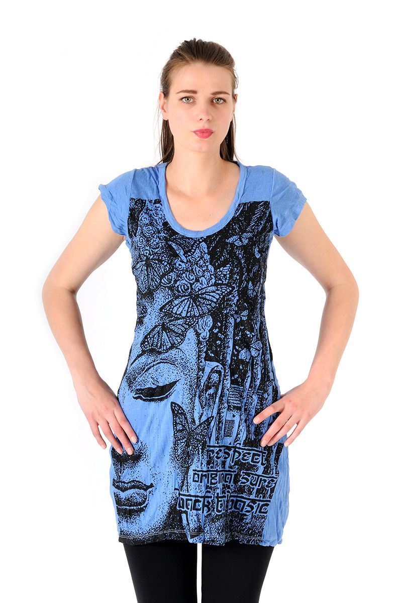 Šaty Sure mini krátký rukáv Buddha modré