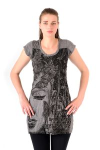 Šaty Sure mini krátký rukáv Buddha šedé