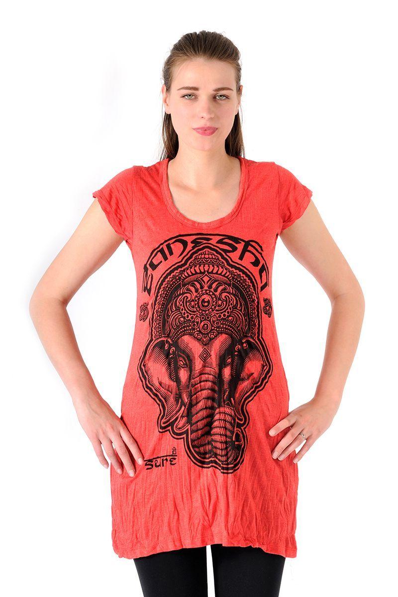 Šaty Sure mini krátký rukáv Ganesh červené - M