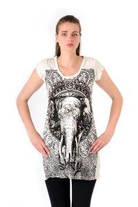 Šaty Sure mini krátký rukáv Slon bílé | SoNo spol. s r.o.