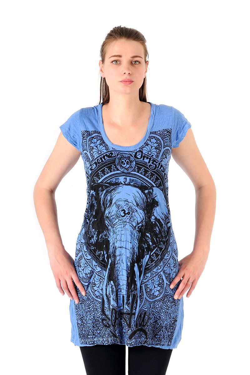 Šaty Sure mini krátký rukáv Slon modré - L | SoNo spol. s r.o.