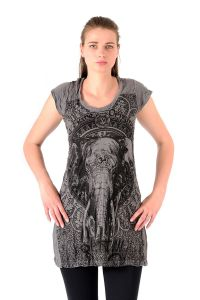 Šaty Sure mini krátký rukáv Slon šedé