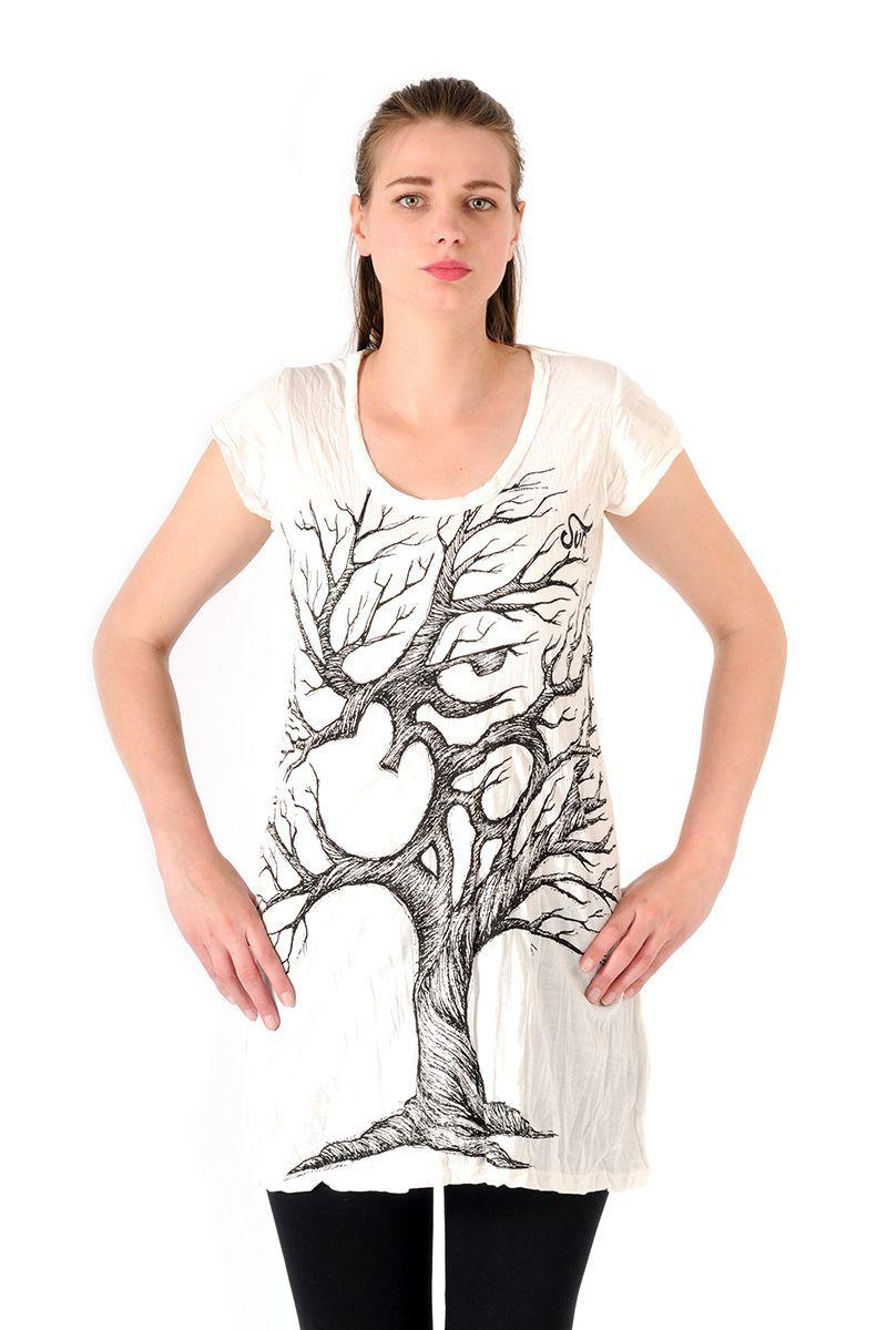 Šaty Sure mini krátký rukáv Strom života bílé