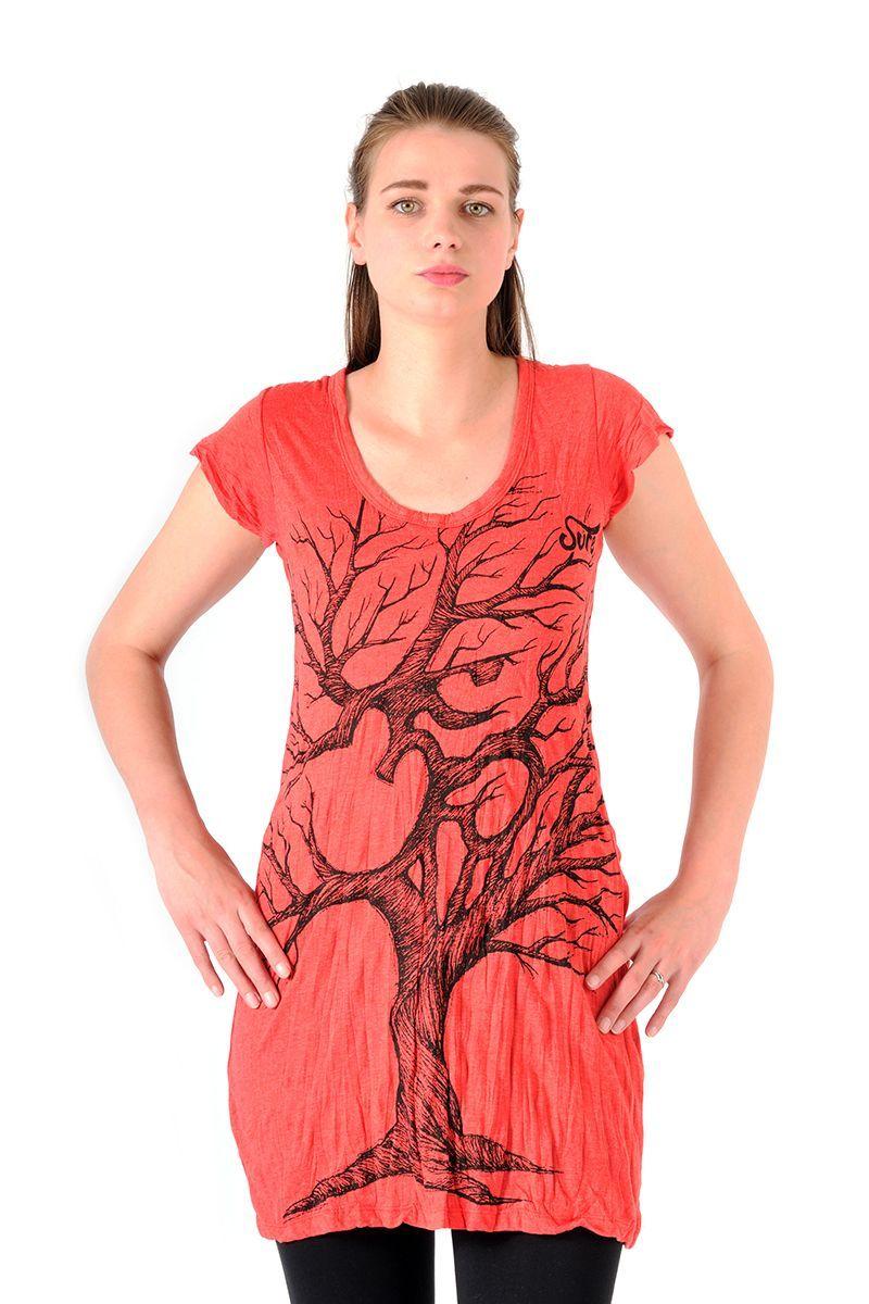 Šaty Sure mini krátký rukáv Strom života červené