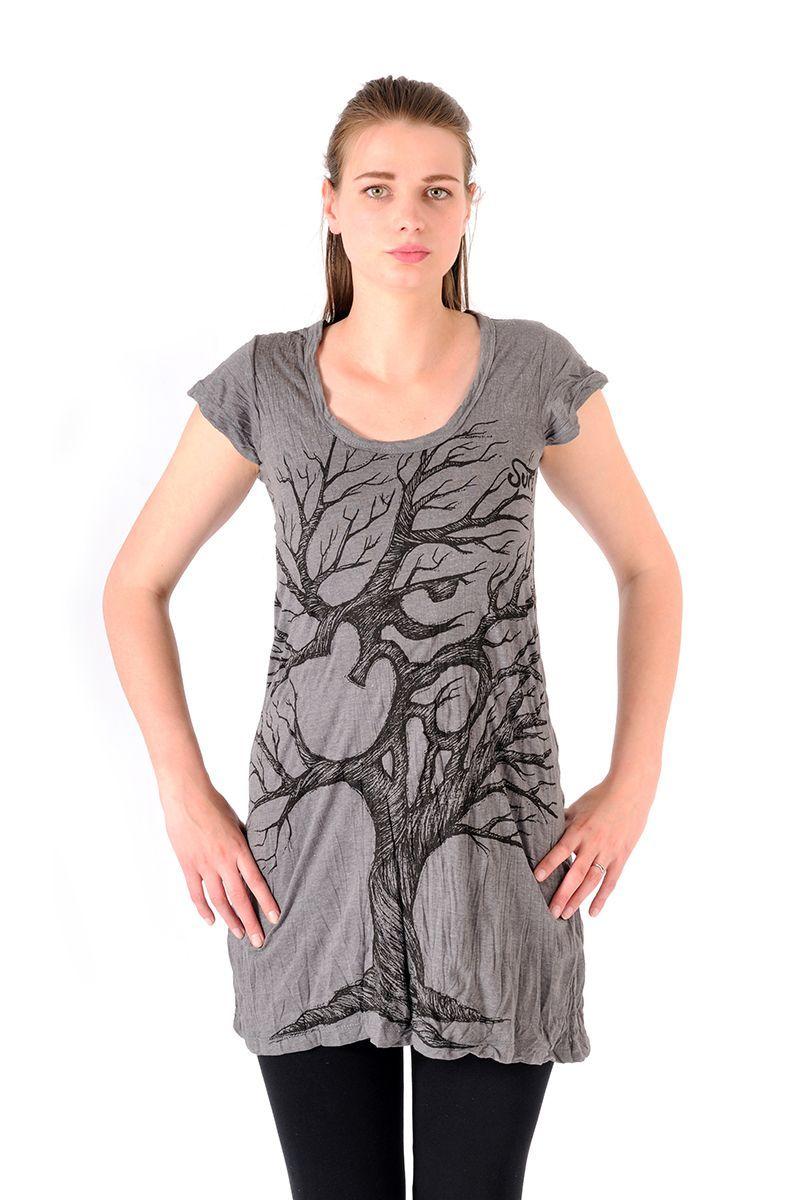 Šaty Sure mini krátký rukáv Strom života šedé