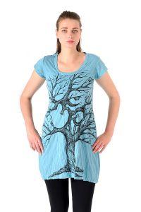 Šaty Sure mini krátký rukáv Strom života tyrkysové