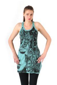 Šaty Sure mini na ramínka Buddha mentolové - M