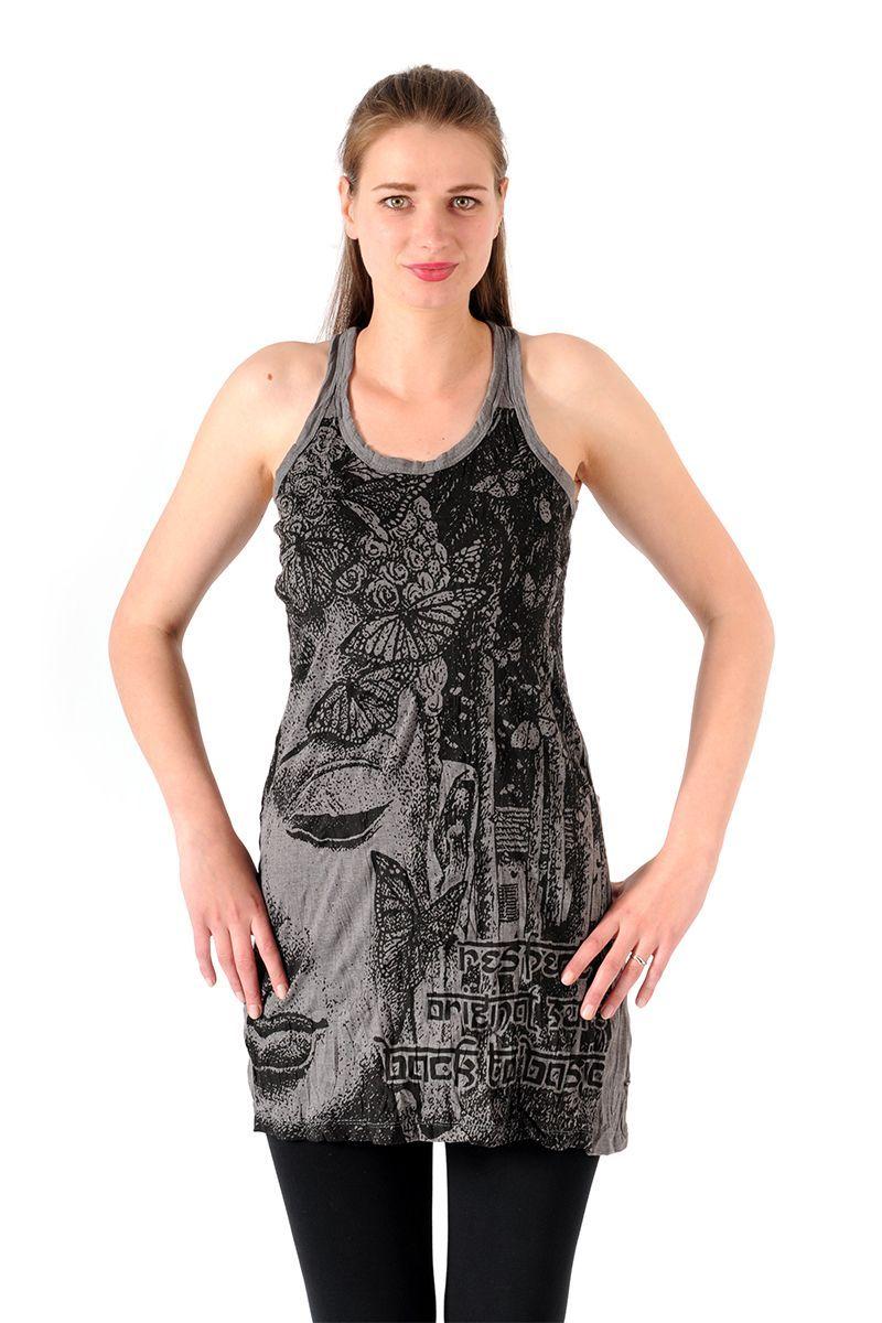 Šaty Sure mini na ramínka Buddha šedé - M | SoNo spol. s r.o.