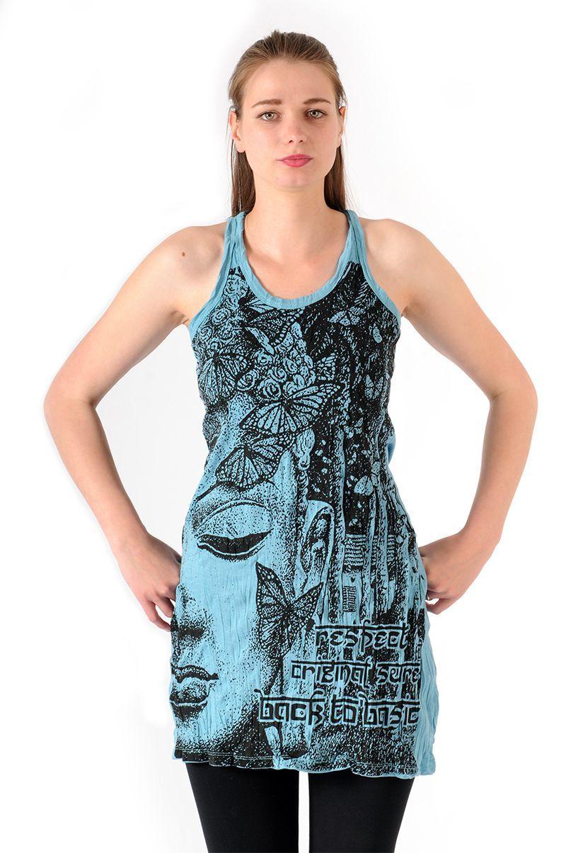 Šaty Sure mini na ramínka Buddha tyrkysové - XL   SoNo spol. s r.o.
