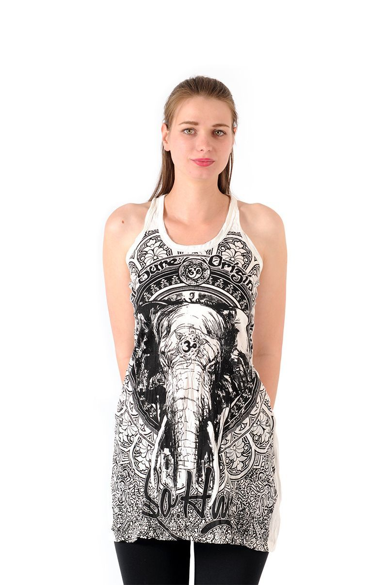 Šaty Sure mini na ramínka Slon bílé