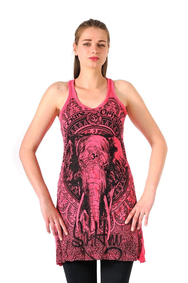 Šaty Sure mini na ramínka Slon růžové - L | SoNo spol. s r.o.