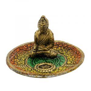 Stojánek na vonné tyčinky - talířek kov Buddha barevný