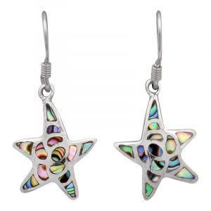 Stříbrné náušnice paua perleť Ag 2,5 g hvězdice
