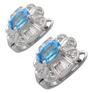 Stříbrné náušnice se Sky Blue topazem a zirkony Ag 4,8 g | SoNo spol. s r.o.