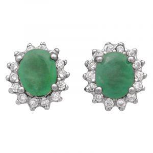 Stříbrné náušnice smaragd a zirkony Ag 1,2 g