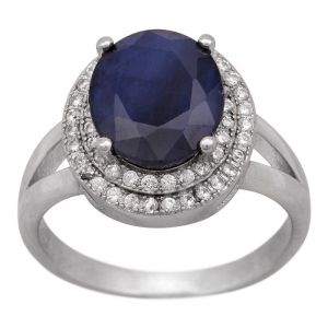 Stříbrný prsten se safírem a zirkony Ag 4,8 g | SoNo spol. s r.o.