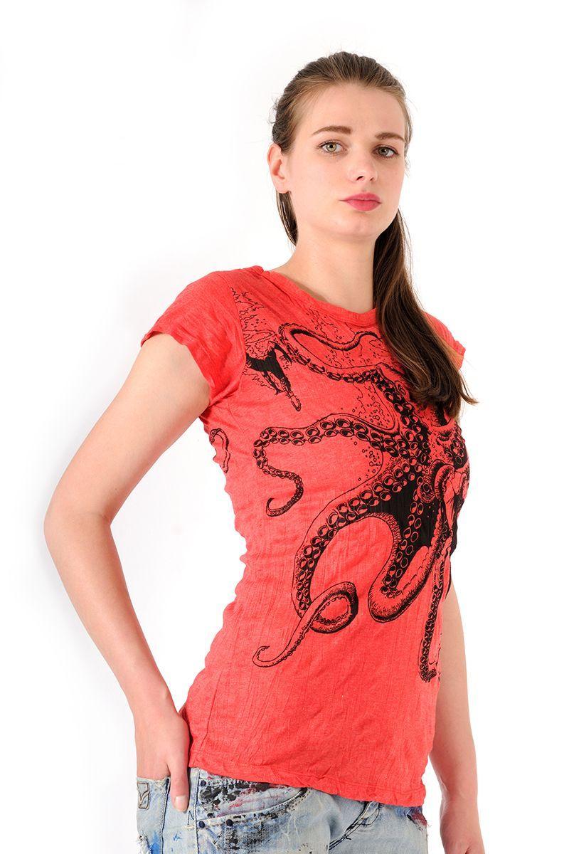 Dámské tričko Sure Chobotnice červené