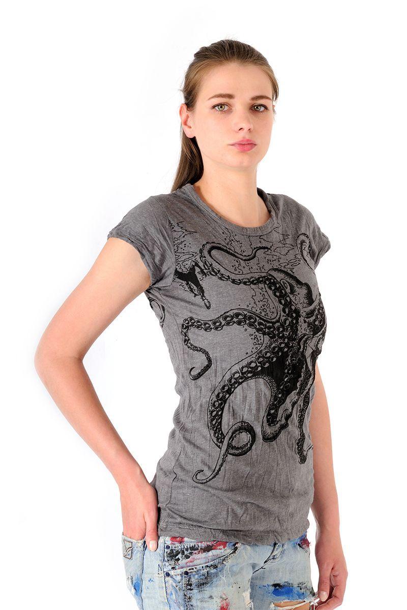 Dámské tričko Sure Chobotnice šedé
