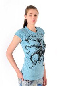 Dámské tričko Sure Chobotnice tyrkysové - S