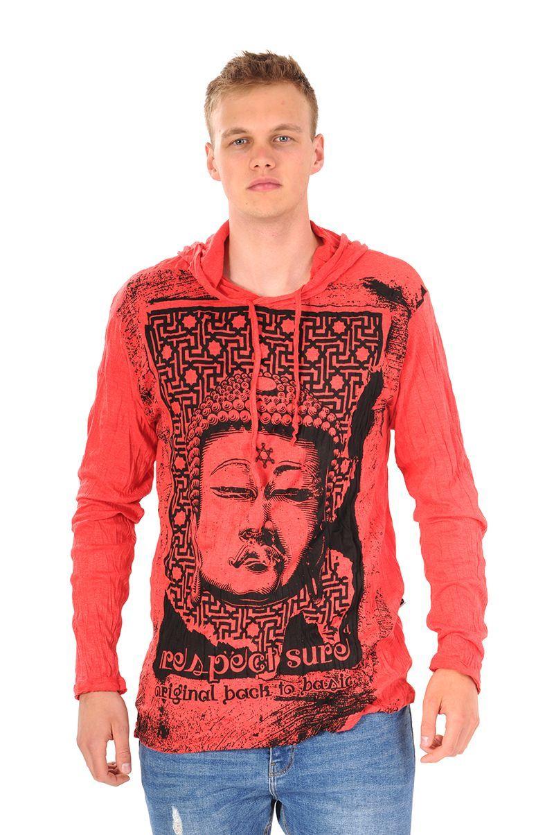 Pánská mikina Sure s kapucí Buddha respect červená - XL | SoNo spol. s r.o.
