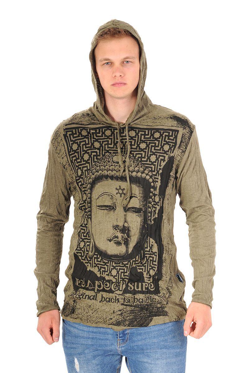 Pánská mikina Sure s kapucí Buddha respect khaki
