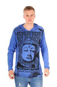 Pánská mikina Sure s kapucí Buddha respect modrá | SoNo spol. s r.o.