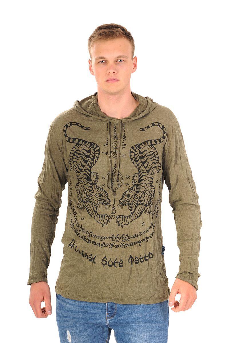 Pánská mikina Sure s kapucí Tygr khaki