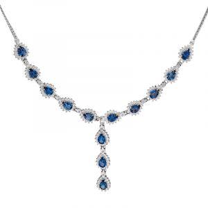 Stříbrný náhrdelník topazy Ag 21,9 g