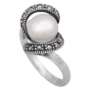 Stříbrný prsten s perlou a markazity Ag 4,1 g | SoNo spol. s r.o.
