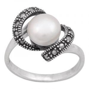 Stříbrný prsten perla a markazity Ag 4,1 g