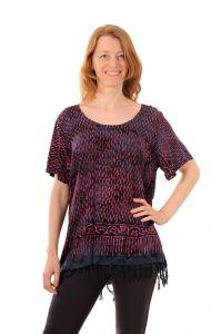 Dámská halenka batikovaná BOB Neobaju Déšť černo-fialová