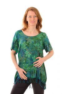 Dámská halenka batikovaná BOB Neobaju Listy zelená