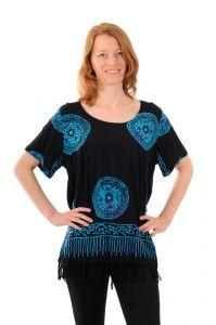 Dámská halenka batikovaná BOB Neobaju Mandala černo-modrá