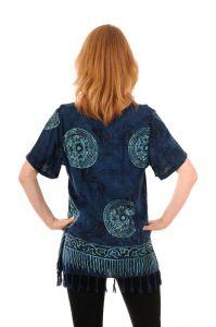 Dámská halenka batikovaná BOB Neobaju Mandala modrá
