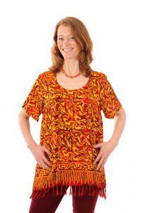 Dámská halenka batikovaná BOB Neobaju Vítr červeno-žlutá