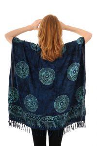 Dámská halenka batikovaná BOB Pončo Mandala modrá